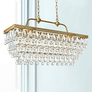 Modern Crystal Rectangle Chandelier LED Ceiling Light Fixture H20in x W12in x L31in - EK CHIC HOME