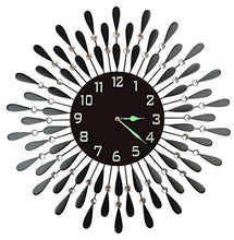 Load image into Gallery viewer, Black Drop Metal Wall Black Glass Night Dial Clock - EK CHIC HOME