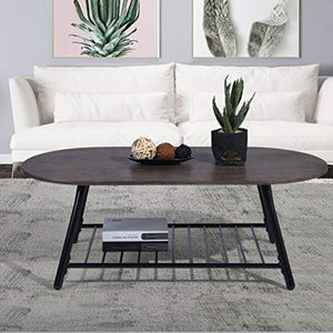 Coffee Table Wooden Industrial Feel Round Cocktail Table with Lower Metal Frame - EK CHIC HOME