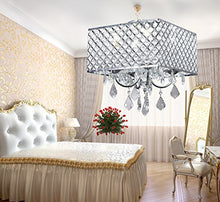 Load image into Gallery viewer, 4-Light Chrome Finish Square Metal and Crytal Shade Crystal Chandelier - EK CHIC HOME