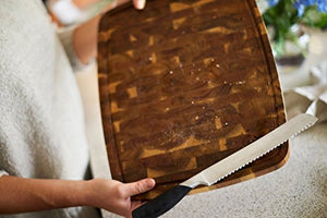 "Luxury Chefs ""Magnetic"" Edge Grain Acacia Wood Butchers Block With Juice Grooves - EK CHIC HOME"