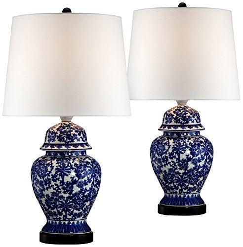 Blue and White Porcelain Temple Jar Table Lamp Set of 2 - EK CHIC HOME