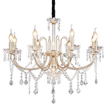 Load image into Gallery viewer, Crystal Chandeliers Light Hanging Adjustable Height and Hand-polished Crystal Beads 9 Lights, Golden - EK CHIC HOME