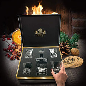 Whiskey Decanter Set in Premium Gift Box with 4 Glasses and 4 Coasters - EK CHIC HOME