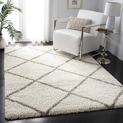 Hudson Shag Collection Ivory and Grey Moroccan Diamond Trellis Area Rug (8' x 10') - EK CHIC HOME