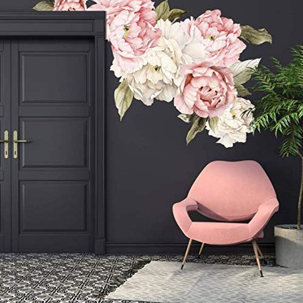Floral Peonies Wall Decal, Removable Peel WALL STICKERS - EK CHIC HOME