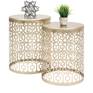 Nordic Set of 2 Round Side End Accent Coffee Table Nightstands - EK CHIC HOME