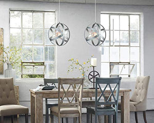 Industrial Vintage Pendant Light Silver&Gray Metal Globe Downlight Chandelier - EK CHIC HOME