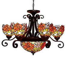Load image into Gallery viewer, Rose Tiffany Style Stained Glass Ceiling Pendant Fixture with 9-Light Chandeliers - EK CHIC HOME