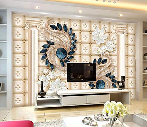 Jewelry Flower Wall Mural Navy Blue Diamond Wall Print Luxury Home Decor - EK CHIC HOME