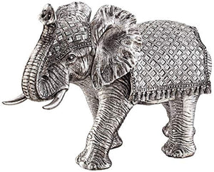 "Walking Elephant 12 3/4"" High Silver Statue - EK CHIC HOME"