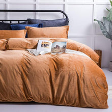 Load image into Gallery viewer, Velvet Flannel Duvet Cover Set, 3 Pieces Zippered Comforter Cover Set - EK CHIC HOME