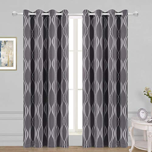 Geometric Trellis Printed Thermal Insulated Blackout Curtains 52 x 84 inch - EK CHIC HOME