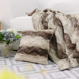"Throw Blanket and Pillow Cover Set Sherpa 50""x 60"" - EK CHIC HOME"