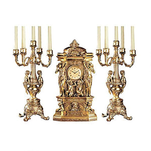 Chateau Chambord Clock and Candelabra Ensemble, 20 Inch, Complete Set of 3 Pcs - EK CHIC HOME