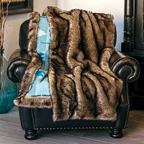 Fuzzy Faux Fur Blanket with Storage Pocket, 54X 64 Inches Lightweight - EK CHIC HOME
