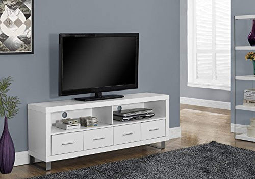 TV Console with 4 Drawers, White, 60