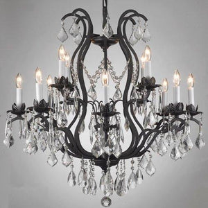 WROUGHT IRON CHANDELIER DRESSED WITH SWAROVSKI CRYSTAL - EK CHIC HOME