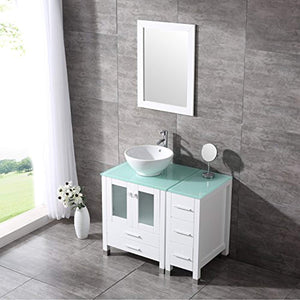 "36"" White Bathroom Wood Vanity Cabinet Ceramic Vessel Sink Top Faucet Drain Combo with Mirror Vanities Set - EK CHIC HOME"