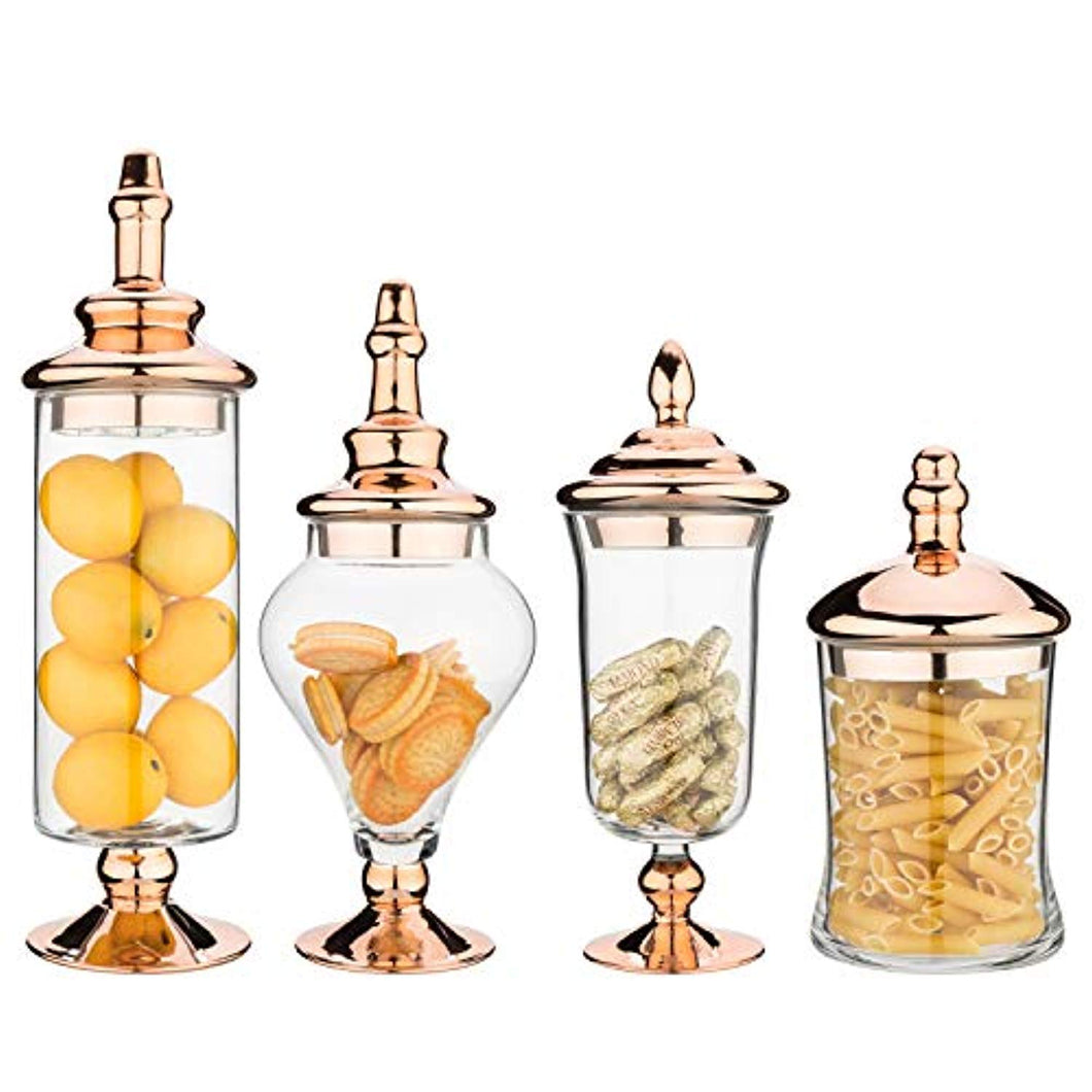 4pcs Clear Glass Apothecary Jars with Metallic Copper-Tone Lids - EK CHIC HOME