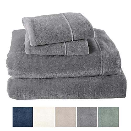 Extra Soft Velvet Plush Sheet Set with Deep Pockets (Queen, Grey) - EK CHIC HOME