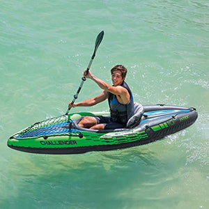 K1 Kayak, 1-Person Inflatable Kayak Set with Aluminum Oars and High Output Air Pump - EK CHIC HOME