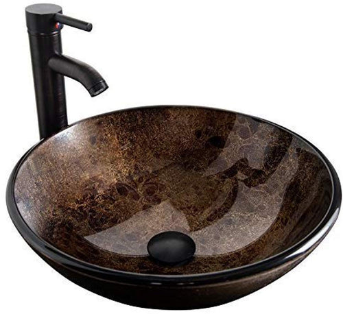 Artistic Round Bathroom Sink Tempered Glass Vessel Sink Combo with Faucet - EK CHIC HOME