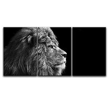 Load image into Gallery viewer, 3 Panel Canvas Wall Art - Lion Head on Black Background - Giclee Print Gallery Wrap Ready to Hang - EK CHIC HOME