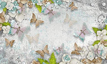 Load image into Gallery viewer, 3D Pearl Flower Wall Mural Colorful Butterfly Wall Print Mediterranean Home Decor - EK CHIC HOME
