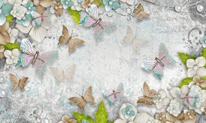3D Pearl Flower Wall Mural Colorful Butterfly Wall Print Mediterranean Home Decor - EK CHIC HOME