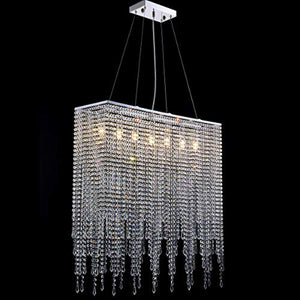 Modern Rectangle Island Crystal Chandelier Pendant Lamp Light Fixture 7 Lights - EK CHIC HOME