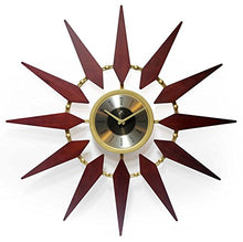 Load image into Gallery viewer, Orion 30 Inch Walnut Mid-Century Modern Starburst Wall Clock - EK CHIC HOME
