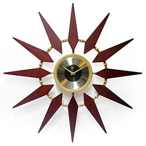 Orion 30 Inch Walnut Mid-Century Modern Starburst Wall Clock - EK CHIC HOME