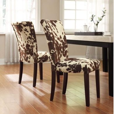 Cow Hide Parson Side Chairs (Set of 2) - EK CHIC HOME