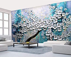 Floral Wallpaper Embossed Oil Painting Blossom Wall Mural 3D Flower Wall Art - EK CHIC HOME
