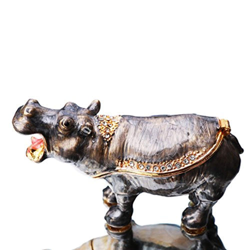 Hippo Trinket Box Hinged Hand-Painted Figurine Collectible Ring Holder with Gift Box - EK CHIC HOME