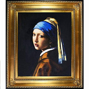Girl with Pearl Earring by Johannes Vermeer, Framed H & Painted Oil with Regency Gold Frame - EK CHIC HOME