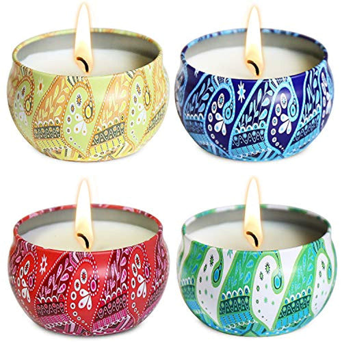 4 Set Soy Wax Colorful Scented Candles 2.4oz Each Stress Relief - EK CHIC HOME