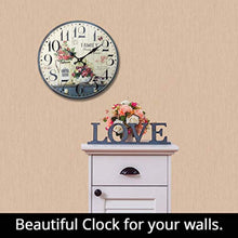 Load image into Gallery viewer, 12 inch Simplicity Wooden Wall Clock, Silent Quartz Battery Operated Rustic Country Tuscan Style Decorative Round Clock - EK CHIC HOME