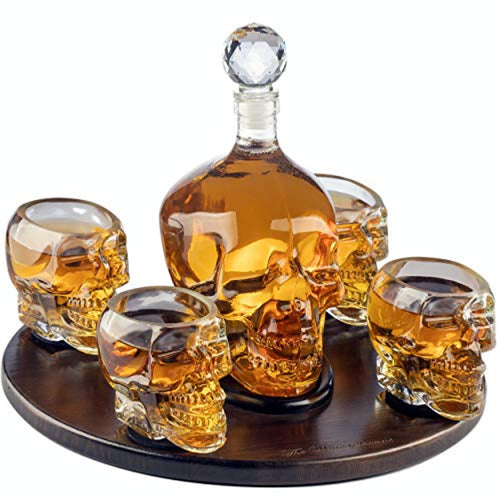 Large Skull Face Decanter with 4 Skull Shot Glasses and Beautiful Wooden Base - EK CHIC HOME