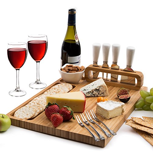 Cheese Board Set, Cheese Tray includes 4 Cheese Knives with White Ceramic Handles Large Size 14