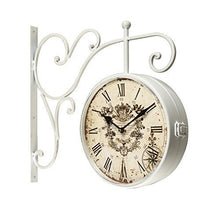 Load image into Gallery viewer, White Iron Round Double-Sided Wall Hanging Clock with Scroll Wall Mount - EK CHIC HOME