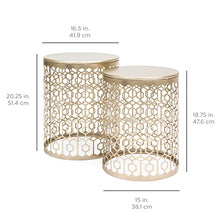 Load image into Gallery viewer, Nordic Set of 2 Round Side End Accent Coffee Table Nightstands - EK CHIC HOME