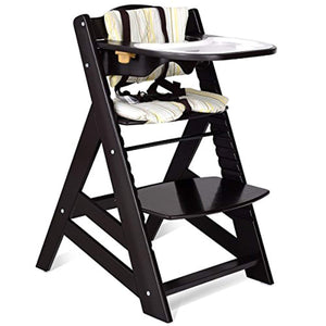 Wooden Highchair, Baby Dining Chair with Adjustable Height, Removable Tray - EK CHIC HOME