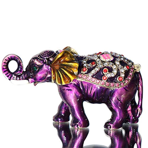 Purple Elephant Hinged Trinket Box Bejeweled Hand-Painted Ring Holder Collectible - EK CHIC HOME