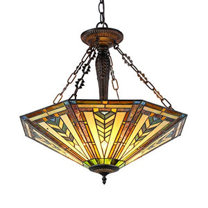 "Inverted Ceiling Pendant Fixture with 25"" Shade, 23.15 x 24.6 x 24.6, Multicolor - EK CHIC HOME"