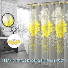 Load image into Gallery viewer, Peony Flower Fabric Shower Curtain Mildew Resistant Yellow and Grey, 72 x 72 - EK CHIC HOME