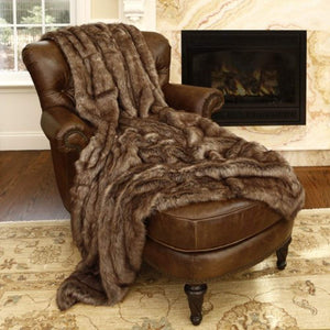 "Faux Fur Throw - Full Blanket - Coyote - 58""W x 84""L - (1 Throw) - EK CHIC HOME"