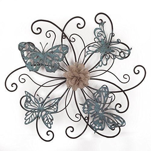 Flower & Butterfly Urban Design Metal Wall Decor - EK CHIC HOME