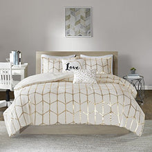 Load image into Gallery viewer, 5PCS Ivory/Gold Design Comforter Set, Full/Queen - EK CHIC HOME